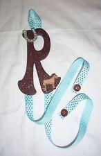 girls letter R horse blue brown dots barrette bow hair accessories storage handm