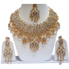 Gorgoues Indian Wedding Look Gold Plated Party Wear Zercon Jewelry Necklace Sets