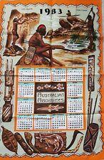 """VINTAGE """"Australian aboriginies's 1983 Art Décoratif calendrier Coton Torchon"""