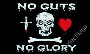 NO GUTS NO GLORY FLAG - SKULL AND PIRATE FLAGS - Size 5x3 Feet