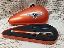 USED Waterman FRANCE Harley Davidson  FOUNTAIN Pen Orange Med TIP Gas Tank Box