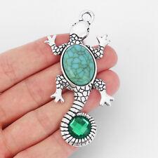 2x Turquoise Stone & Tibetan Silver Gecko Charms Pendants Diy Jewellery Findings
