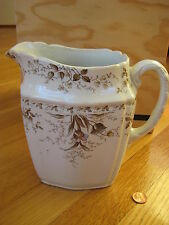 antique Alfred Meakin Westmeath England PITCHER for wash bowl white brown floral