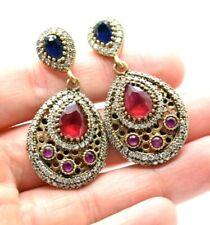 Sapphire Ruby Dangles Sterling Silver 925 Earring 16g Run415