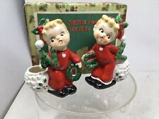 Vtg Set Poinsettia Noel Cherub Candle Holders By Commodore Made In Japan Mcm #2