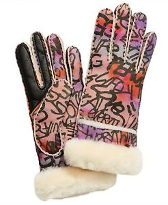 UGG Women's Graffiti Seamed Shearling Tech Water Resistant Gloves Sizes S/M/L
