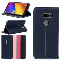 For LG V40 ThinQ / V35 ThinQ / V30 / V30 Plus Flip Leather Kickstand Wallet Case