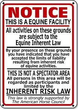 Supplemental Equine Liability Sign warning statute horse barn stable