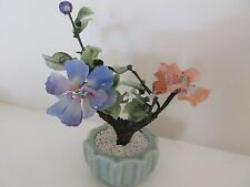 "Oriental Glass Feng Shui Tree in Ceramic Pot Decor (3  "" x 6 "" )"