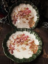 PAIR ANTIQUE WALL DISPLAY PLATES GILDED GREEN RIMS BARKER & KENT CLEMATIS DESIGN