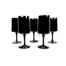 Black Glass Goblets Stemmed Wine or Water Glasses Set of 5