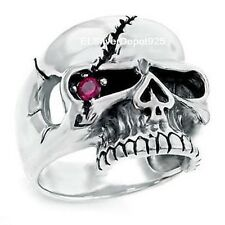 925 STERLING SILVER AAA+ Red CZ Ring Men Pirate One Eye Skull Biker Gothic Punk