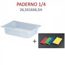 BACINELLA CONTENITORE GASTRONORM POLIPROPILENE 1/4 26,5X16X6,5H C/COPER.PADERNO