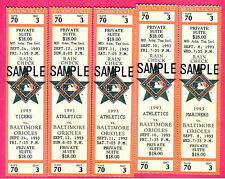 HUGE LOT OF 58 FULL/MINT TICKETS-1993 ORIOLES SEASON TIX-CAL RIPKEN-CAMDEN YARDS
