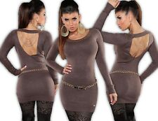 KOUCLA Mini Dress Pullover Knitted Studs Chains Cut Out Jumper Long C