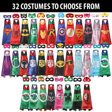 Childrens Superhero Cape Mask Fancy Costume High Quality Kids Halloween Party