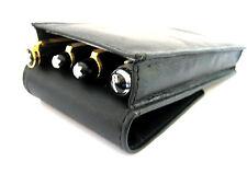 Black Magnetic Soft Napa Leather Triple/Quadruple,1,2,3,4 Pens. Pen Case/Pouch