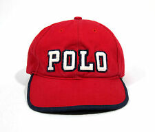 VTG 90s POLO RALPH LAUREN LEATHER STRAP HAT CAP SPELLOUT USA FLAG NYC 92 SPORT