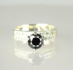 3.38 Ct. Black Diamond Solitaire Men's Ring-Gift For Husband,Partner