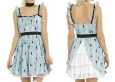 NWT Hot Topic M Dress Alice Wonderland Ruffle Back Bustle Cosplay Blue Steampunk