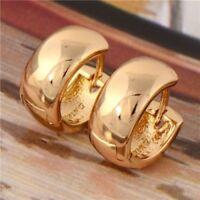 18 K Gold Vergoldet Creolen Damen Ohrschmuck Glatte Ohrringe Schmuck Frau Neu