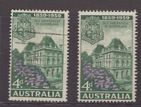 Australia 1959 QLD self Govt issues x 2 including Snow on Jacaranda variety