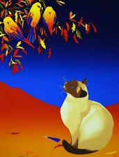 Anne Nipper Tree Top Treatise 1980 Limited Edition Serigraph Cat and Birds