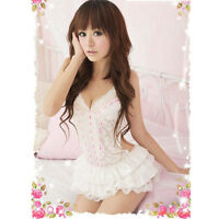 Womens Sexy Backless Halter Lingerie Passion Sleepwear Babydoll DRESS G-string