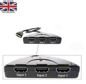 Hdmi 3 Port Switch Switcher Splitter Selector HUB Box Cable HDTV 1080P AUTO