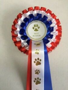 DOG SHOW ROSETTE -BEST IN SHOW (3 Tier Red/White/Blue)  *FREE POSTAGE*