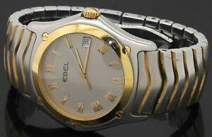 Ebel Classic Wave 1187F41 SS/18K gold quartz men's watch w/ date & silver dial