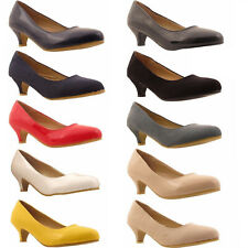 LADIES WOMENS LOW KITTEN HEEL WORK COURT EVENING GIRLS SHOES PUMPS UK SIZES 3-12
