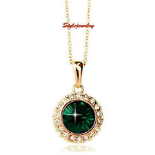 Rose Gold Filled Made with Swarovski Crystal Emerald Green Necklace N195