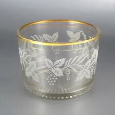Vintage Mid-Century Glass Ice Bucket, Grape Vine Design, Gilded Borders