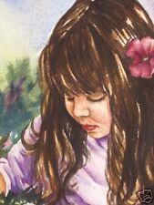 Girl Child Flowers Garden   O/E Print   ACEO  by Vicki