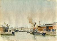SHIPS AT LONDON DOCK Watercolour Painting CHARLES VERNON METHLEY c1930 SEASCAPE