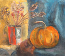 Vintage impressionist gouache painting still life with pumpkin and flowers