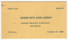 1968 JOHN LINDSAY President DINNER TICKET Des Moines Iowa CAUCUS Political NYC
