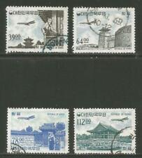 Korea 1964 Plane/Traditional Buildings airmail--Attractive Topical (C35-38) used