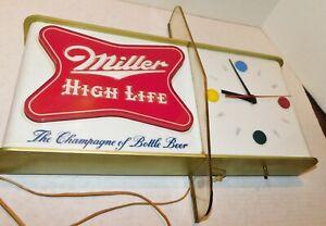Vtg MCM Miller High Life beer sign 1957 W Shark Fin Light Up Clock Atomic Age