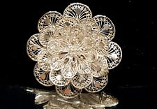 Art Deco silver Filigree large floral brooch.