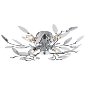 Modern Birch Semi Flush Ceiling Light with Clear & White Leaves by Happy Home...