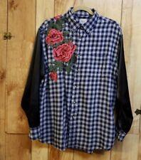 FURST OF A KIND  Plaid Flannel Womens Button Down Shirt Rose Applique  Size XL