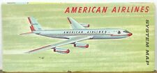 1961 American Airlines System map Boeing 707 cover illustration b