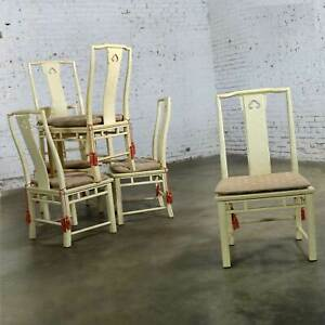 White Fine Furniture Asian Ming Chinoiserie Style Off White Lacquer Dining Chair