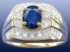 Natural 2.0ct Blue Sapphire & 26 Diamond 9K 9ct 375 Solid Gold Gents Mens Ring