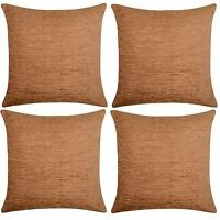 "4 x Luxury Plain Chenille Cushion Cover Soft Covers 43 x43cm, 17x17"", Caramel"