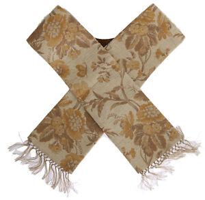 NEW $550 DOLCE & GABBANA Scarf Stole Men's Beige Gold Jacquard Cotton Polyester