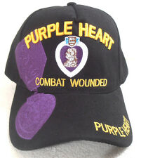 MILITARY BALL CAP PURPLE HEART COMBAT WOUNDED HAT  BLACK WITH SHADOW