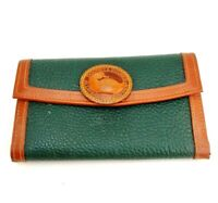 Dooney & Bourke Green & Tan Pebble Leather Trifold Wallet Forest  (1) Used Cndt